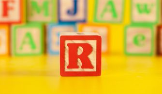 Photograph of colorful Wooden Block Letter R